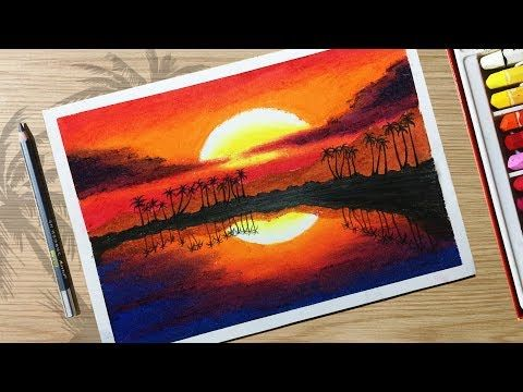 How To Draw Beautiful Sunset Scenery With Oil Pastels For Beginner