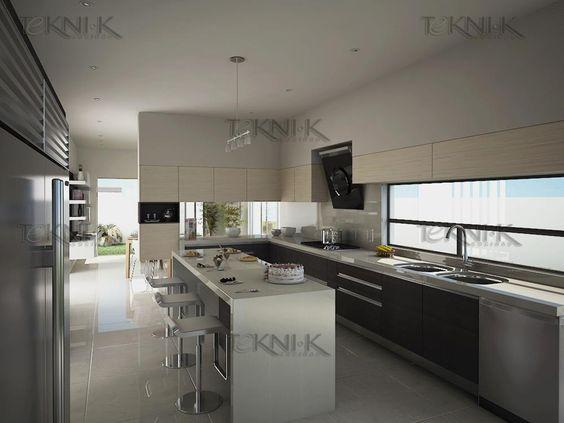 El diseño de la cocina muestra colores neutros en una escala de ...