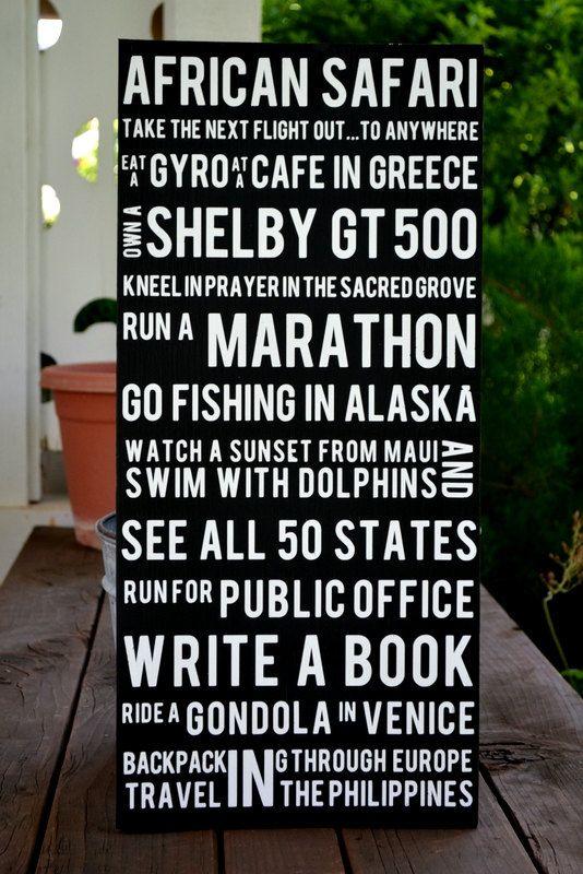 bucket list sign