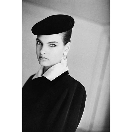 "French Vogue 1985. Linda Evangelista. ""It's hard for a model to have a personal life. Men too often fall in love with the way you look instead if the way you are."" Models Manual. Arthur Elgort."