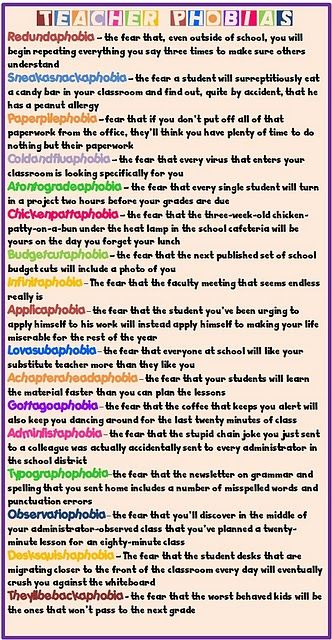 Teacher Phobias- lol!!