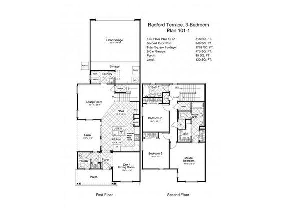 Navy Region Hawaii – Radford Terrace Neighborhood: 3 bedroom town home floor plan.