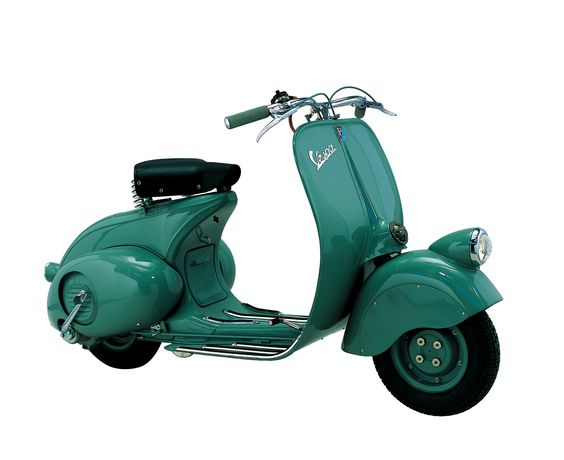 The first Vespa. It was powered by a 98 cc engine that delivered 3.2 bhp at 4,500 rpm with a top speed of 60 km/h. It was in production for two years: in 1946 vehicles no. 1 to no. 2,464 were produced, in '47 those from no. 2,465 to 18,079: