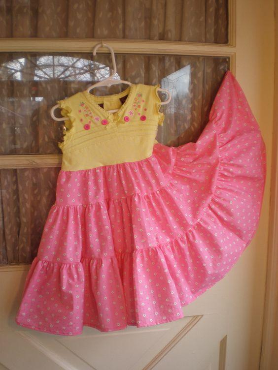 Girls Summer Cotton Tee Shirt Twirl Skirt Dress by dollupmydoll, $25.00 cute dresses made from tees
