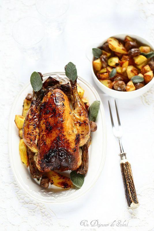 Un dejeuner de soleil: Dinde ou poulet farcis aux marrons et aux pommes