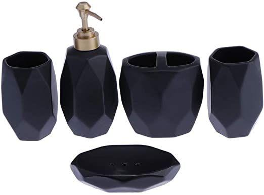 Joymerit Bathroom Accessories Set 4pcs Decorative Bath Accessory Kit With Soap Dispenser Toothbrus Soap Dispenser Shampoo Dispenser Bathroom Accessories Sets