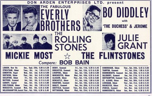 Ist UK tour (1963). Little Richard was added to the tour when ticket sales were poor. This was The Rolling Stones' first-ever nationwide tour; their debut single 'Come On' had just been released. These eager young chaps from the Surrey delta learned at the feet of the American masters.