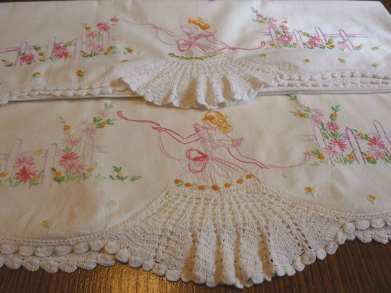 Vintage Southern Belle with Crochet Skirt & Embroidery Florals Pillowcases