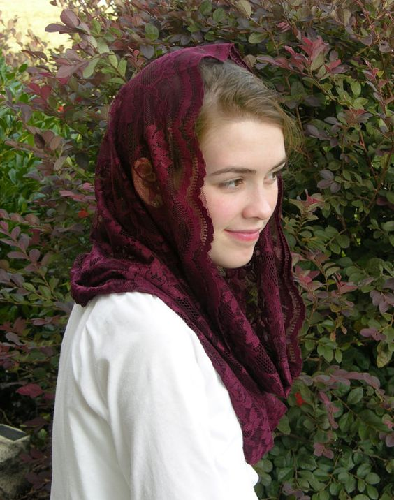 From RobinNestLane on Etsy  Traditional Catholic Burgundy Infinity Veil Chapel Veil Mantilla Ladies Latin Mass Scarf Shorter Length  https://www.etsy.com/listing/206690231/traditional-catholic-burgundy-infinity?ref=shop_home_active_4