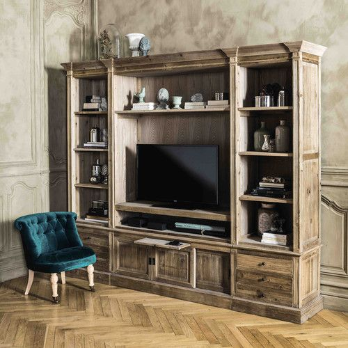 Recycled solid wood TV unit bookcase W 264cm