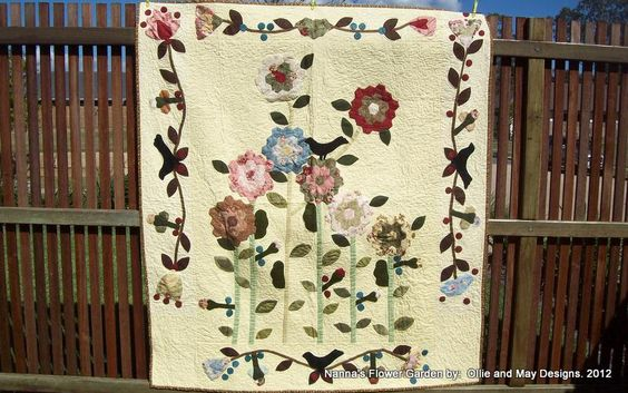Nanna's Flower Garden Applique Quilt.  Pattern $15.95