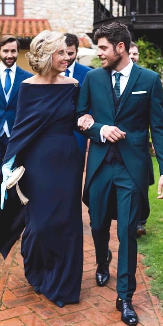 15 Excellent Mother Of The Groom Dresses ❤ mother of the groom dresses long off the shoulder navy with cape calistaone ❤ #weddingdresses