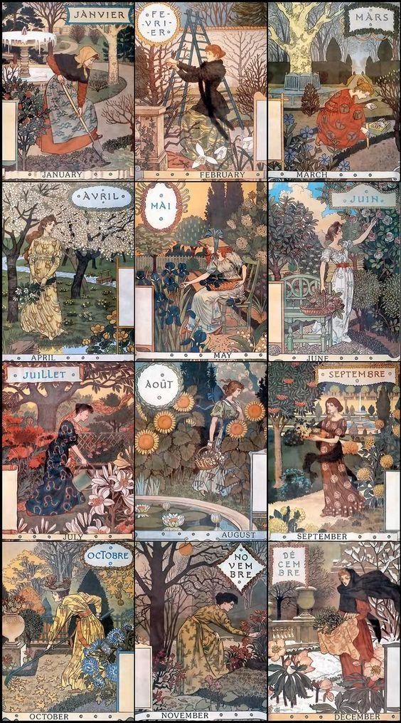 Eugène grasset (1845-1917) graveur, affichiste, décorateur franco-belge affiche: calendrier: