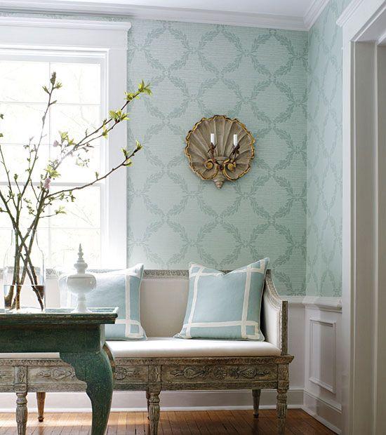 blue: Robin, Wall Paper, Decorating Ideas, Thibaut Wallpaper, Living Room