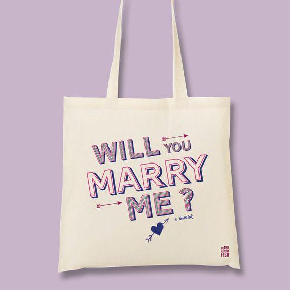 Sac cabas saint Valentin, demande en mariage, tote bag, sac de courses, sac de plage, shopping bag, sac en coton, sac en tissu, mariage
