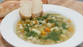 Country vegetable soup with basil pistou