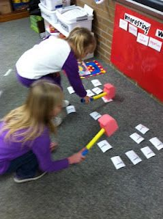 Whack-a-word!  Call out a word and who ever hits it first with the hammer gets to keep it. This could be a center activity with one student calling out sight words/compound words/etc., or even sentences for fluency and quick recognition.