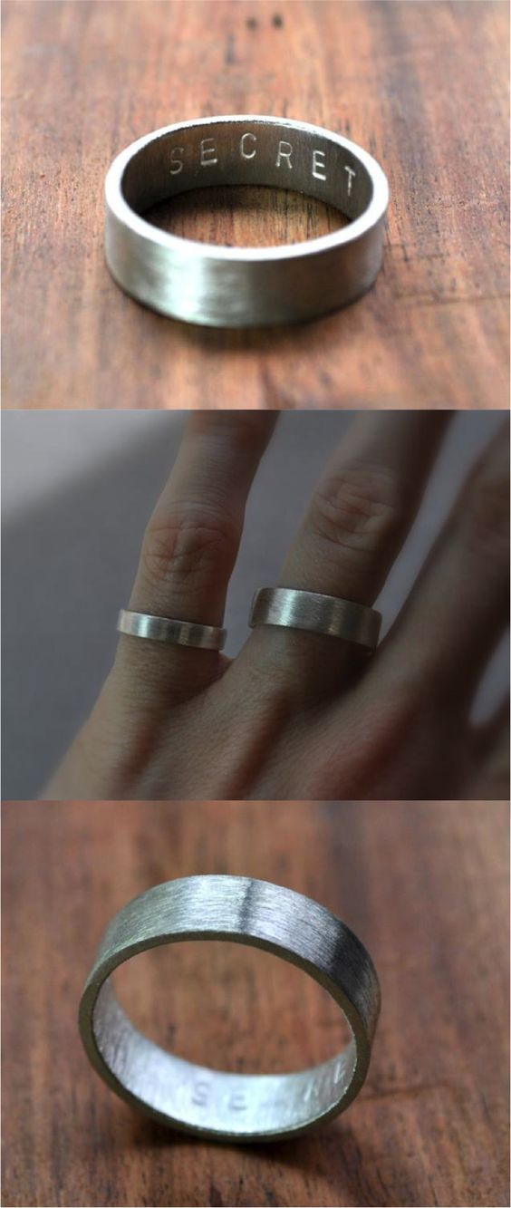 The Men's Matte Secret Message Ring - get your own personalized message hand-stamped inside your handmade sterling silver wedding band.  Choose from any letters A-Z (capitals), all 10 numbers, and the '&' symbol in whatever combo you choose. Your message can be a maximum of 15 characters long inside your ring (spaces included).