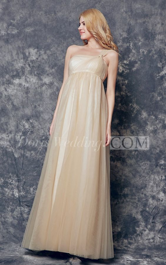 Dreaming One Shoulder Ruched and Pleated Long Tulle Champagne Bridesmaid Dress. Find your dream bridesmaid dresses on www.doriswedding.com. Sort by color, designer, fabric and more and discover the bridesmaid dress you love. #long #champagne #DorisWedding.com