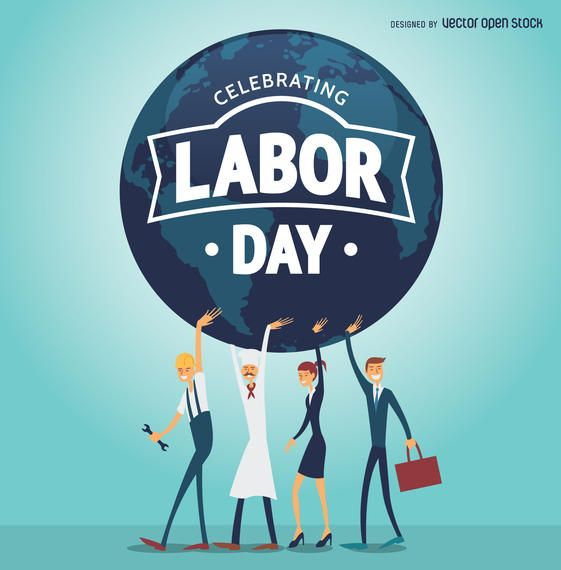 Labor Day Poster With Workers Holding The World Labour Day Happy Labor Day Workers Day