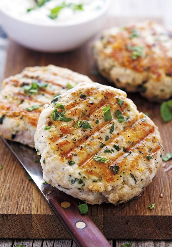 Greek-Style Turkey Burgers from The Iron You, featured for Low-Carb Recipe Love on Fridays (5-27-17) on KalynsKitchen.com