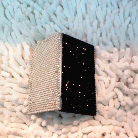 Crystal swarovski element rhinestone business card holder black crystal swarovski element rhinestone business card holder black white crystals colourmoves Image collections