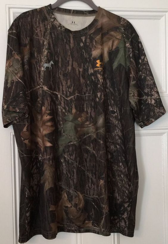 Under Armour Mens Sz L Short Sleeve T Shirt Mossy Oak Break Up Camo Mules Lax | eBay
