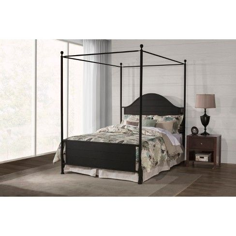 Berland Metal Canopy Bed Set With, The Curated Nomad Quatrefoil Queen Canopy Bed