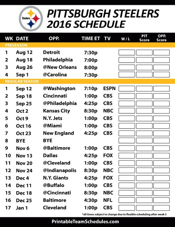 Pittsburgh steelers schedule, Steelers schedule and Pittsburgh ...