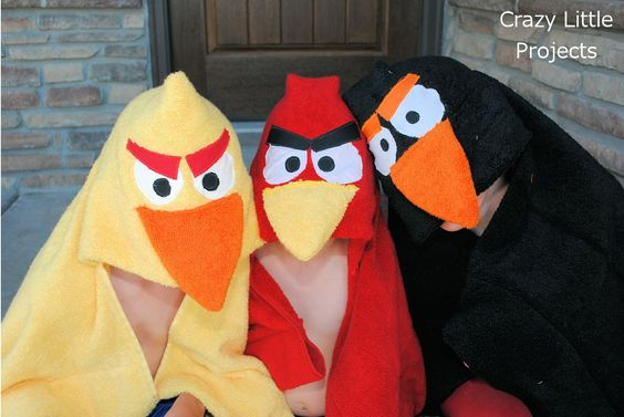 Angry Birds Hooded Towels Tutorial - gift idea for my nephews