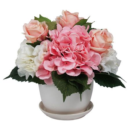 Enjoy the beauty of nature throughout the seasons with this faux hydrangea and rose arrangement in a chic white ceramic pot.   Prod...: