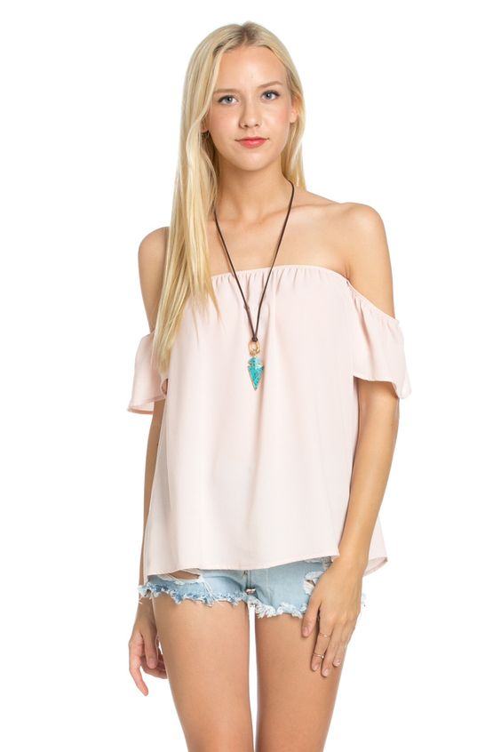 Short Sleeve Off the Shoulder Flowy Blush Top