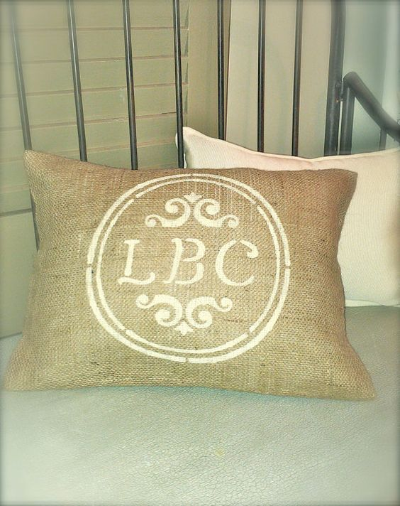 MONOGRAM PERSONALIZED BURLAP Pillow with Jute Trim 12x18 - Shabby Chic, French Country Home Decor- Rustic Vintage inspired Wedding Decor. $20.00, via Etsy.
