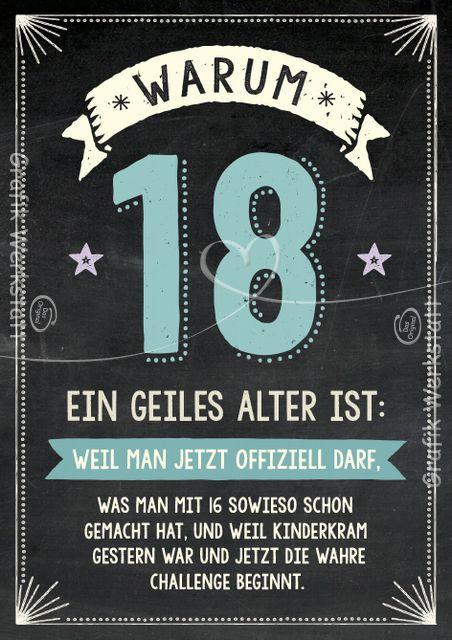 Warum 18 ein geiles Alter ist: - Doppelkarten - Grafik Werkstatt Bielefeld