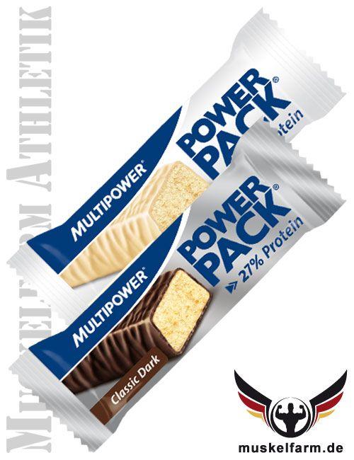 Multipower Power Pack Classic Fitnessriegel mit 27% Proteine in leckerer Schokolade ist Ideal während des Trainings.