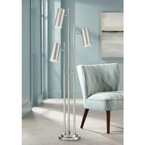 Lancer 3 Light Trac Tree Floor Lamp 56e91 Lamps Plus Floor Lamp Styles Brushed Nickel Floor Lamp Nickel Floor Lamp
