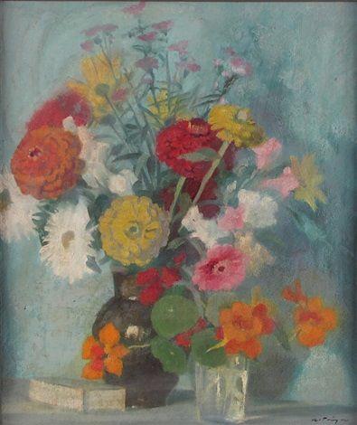 Alfred Tröger'Stilleben mit Sommerlichen Gartenblumen und Kleiner Schachtel'