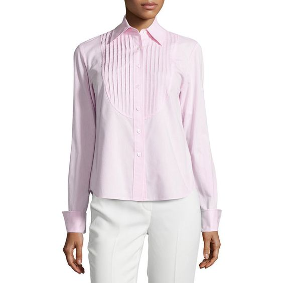 Lafayette 148 New York Nula Long-Sleeve Pleated Blouse ($114) ❤ liked on Polyvore featuring tops, blouses, frosted ro, long sleeve tops, pleated top, form fitting tops, button front tops and long sleeve blouse