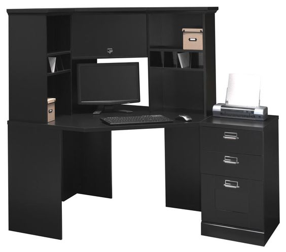 Corner Desk with Hutch Classic Black by Bush - 1-800-460-0858 - Free Shipping - Office Furniture 2go.com