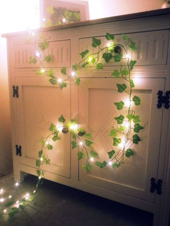 Green Ivy leaf garland mini led fairy string lights wedding decoration woodland