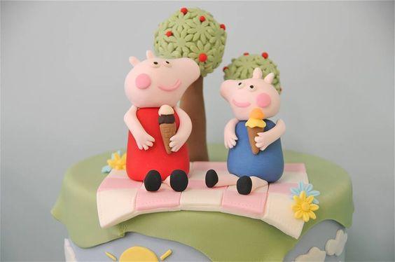Tarta fondant de la Peppa Pig