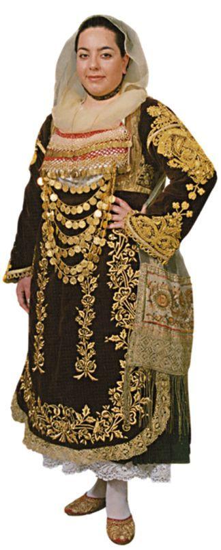 Traditional bridal/festive costume from Salamina (on Salamis Island, Attica), ca. late 19th century.