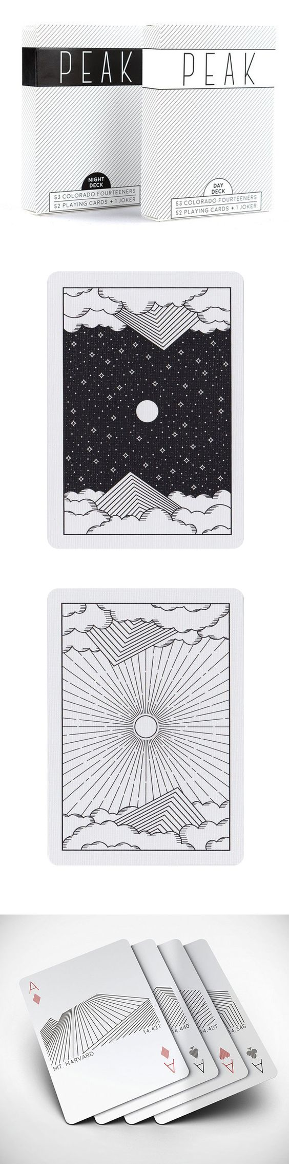 "Reach for the peak with 53 custom designed playing cards that celebrate each of Colorado's 53 ""14ers"" (mountain peaks 14,000 feet or more above sea level). From Castle Peak to Mt. Massive, all fifty two standard playing cards and one joker feature a minimalistic illustration of one of the 14ers, along with the peak's name and elevation. Also included is a joker featuring the Red Rocks. Choose from the Day Deck or the Night Deck and start planning your next adventure. #colossal"