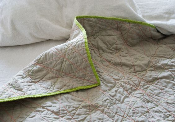 linen + neon quilting, bright binding. Simple but striking.
