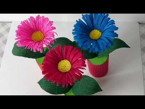 Latwe Kwiaty Z Krepiny Easy Crepe Paper Flower Youtube Paper Flowers Crepe Paper Flowers