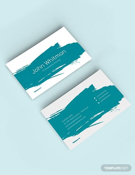 Simple And Trendy This Business Card Template Is A Handy Card To Give For Painters Wh Painter Business Card Painted Business Cards Business Card Template Word