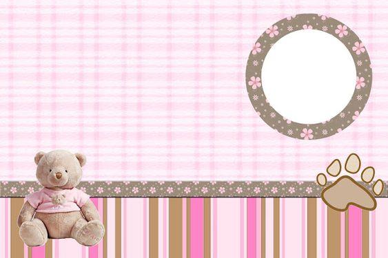 Ursinha de Pelúcia Marrom e Rosa – Kit Completo com molduras para convites, rótulos para guloseimas, lembrancinhas e imagens!  Fazendo a Nossa Festa
