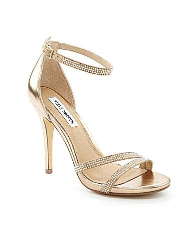 "Steve Madden Bonbon Dress Sandals  - bridal, bridesmaids, cocktail shoe. gold color. Item #04438939    #Dillards 4"" heel  polyurethane upper with rhinestones   http://www.dillards.com/product/Steve-Madden-Bonbon-Dress-Sandals_301_-1_301_505088198?df=04438939_zi_gold&categoryId=668304&scrollTop=2915"