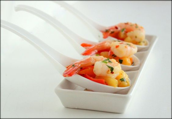 Shrimp with Warm Pineapple-Pepper Relish