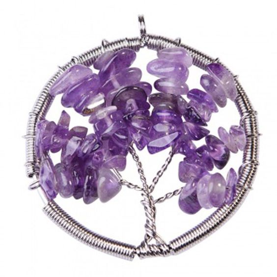 Wired Tree Of Life, Necklace, Pendant, Handmade, Amethyst, Semiprecious Gemstones, Purple, Gift Idea by BeautyBoxDolls on Etsy https://www.etsy.com/uk/listing/454329538/wired-tree-of-life-necklace-pendant